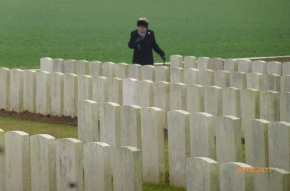 Suzanne at Crouy cemetery.JPG